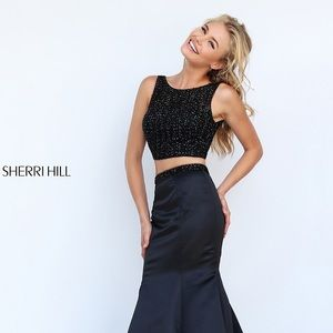 Black Sherri Hill Prom Dress Two Piece Size 4